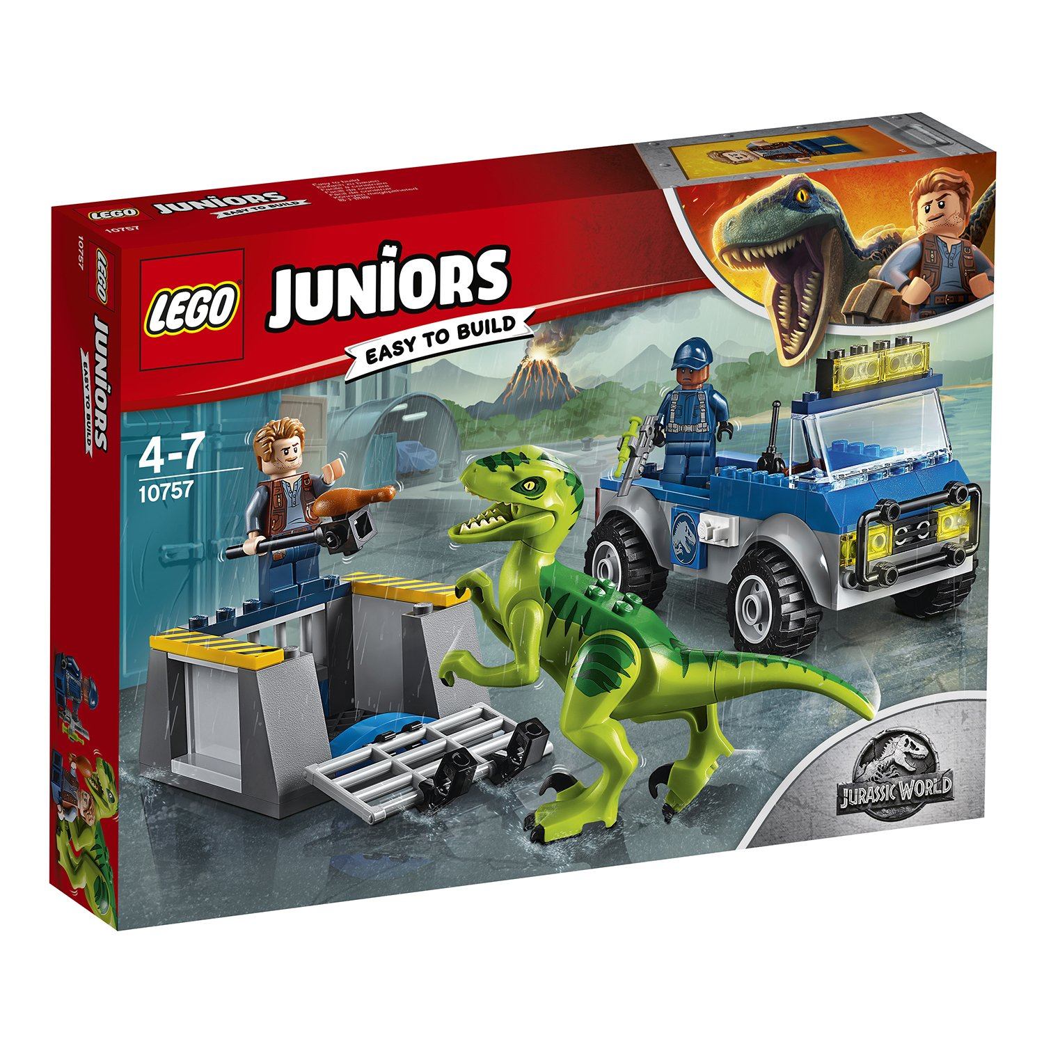 Конструктор LEGO Junior Jurassic World Грузовик спасателей для перевозки раптора